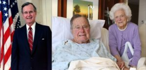 President George H.W. Bush with wife in hospital