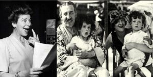 Fanny Brice acting and with her family