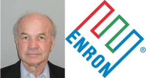 Kenneth Lay mugshot and Enron logo