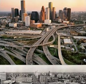 Houston Texas Skyline 1900 v. 2019