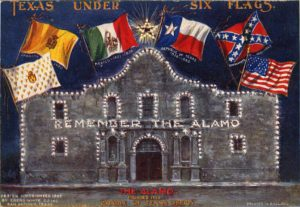 Alamo with 6 flags of Texas